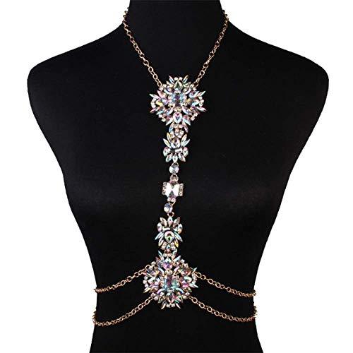 Cadena para el cuerpo – piedras de cristal y diamantes de imitación cadena de playa, accesorios de boda para mujer