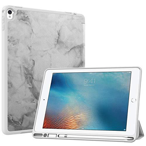 MoKo Funda con Stylus Pencil Soporte Compatible con iPad Pro 9.7, Ligera Función de Soporte Protectora Plegable Durable (Auto Sueño/Estela) - Mármol Negro