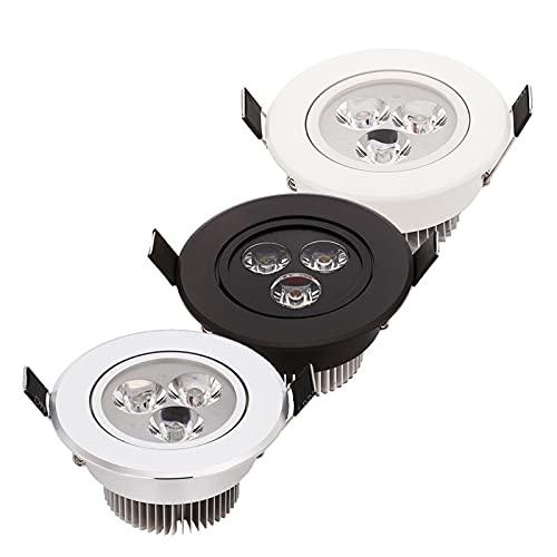 HSHHJSH Focos LED para Empotrar En El Techo, Downlight LED Regulable 3W 4W 5W Foco Plata/Blanco/Negro - AC110V 220V (Emitting Color : Pure White, Wattage : Silver Shell 4 Watts)