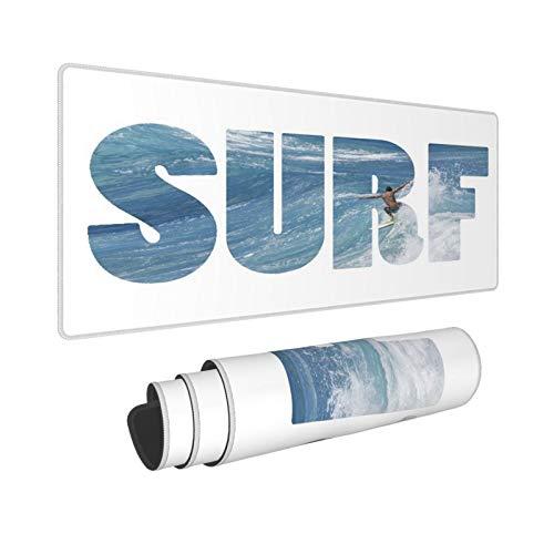 Minalo Extra Grande Alfombrilla de Ratón,XXL-90 x 40 x 0.3cm,Word Surf Montando Olas Gigantes del océano en Hawaii,Alfombrilla de Escritorio para el Trabajo Juego Computadora Portátil