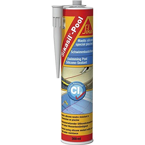SIKA Sikasil Pool Schwimm-Bad Silikon-Doichtstoff | 300 ml Kartusche | transparent