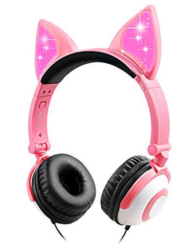 Sunvito Kopfhörer für Mädchen, Katzenohren, LED-Kopfhörer für Kinder, kabelgebunden, 85 dB, Lautstärke, faltbar, Kopfhörer für Mädchen (rosa)
