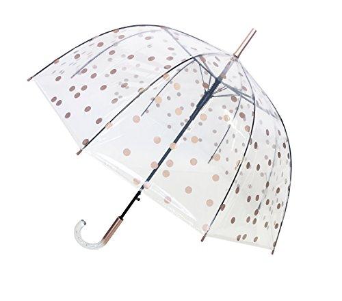 SMATI Regenschirm durchsichtig transparent mit Automatik Stockschirm (Kupferfarbe)