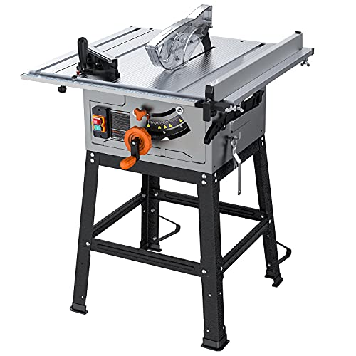 Table Saw for Jobsite, 10 Inch, 15-Amp 24T Blade 4800 RPM 45oBevel Cutting With Extended Desktop, Pusher, Rip Fence, Miter Gauge, Metal Stand