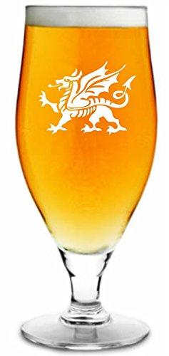 500ml Ergab Bier Glas mit walisischer Drache Design & personalisiert mit Ihrem Namen oder Text (bis zu 20Zeichen)