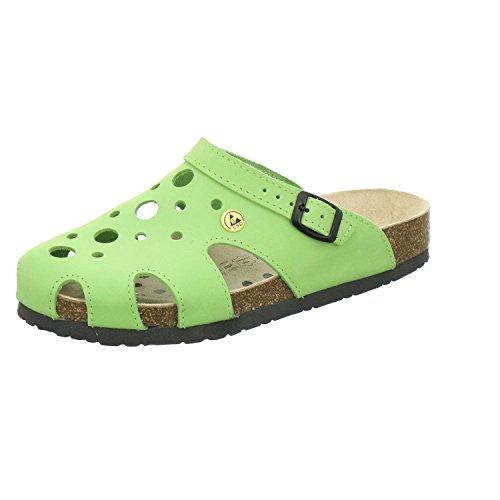 AFS-Schuhe 21993, ESD-Clogs Bequeme Hausschuhe für Damen, praktische Arbeitsschuhe, echt Leder Größe 41 EU Grün (Apfel)