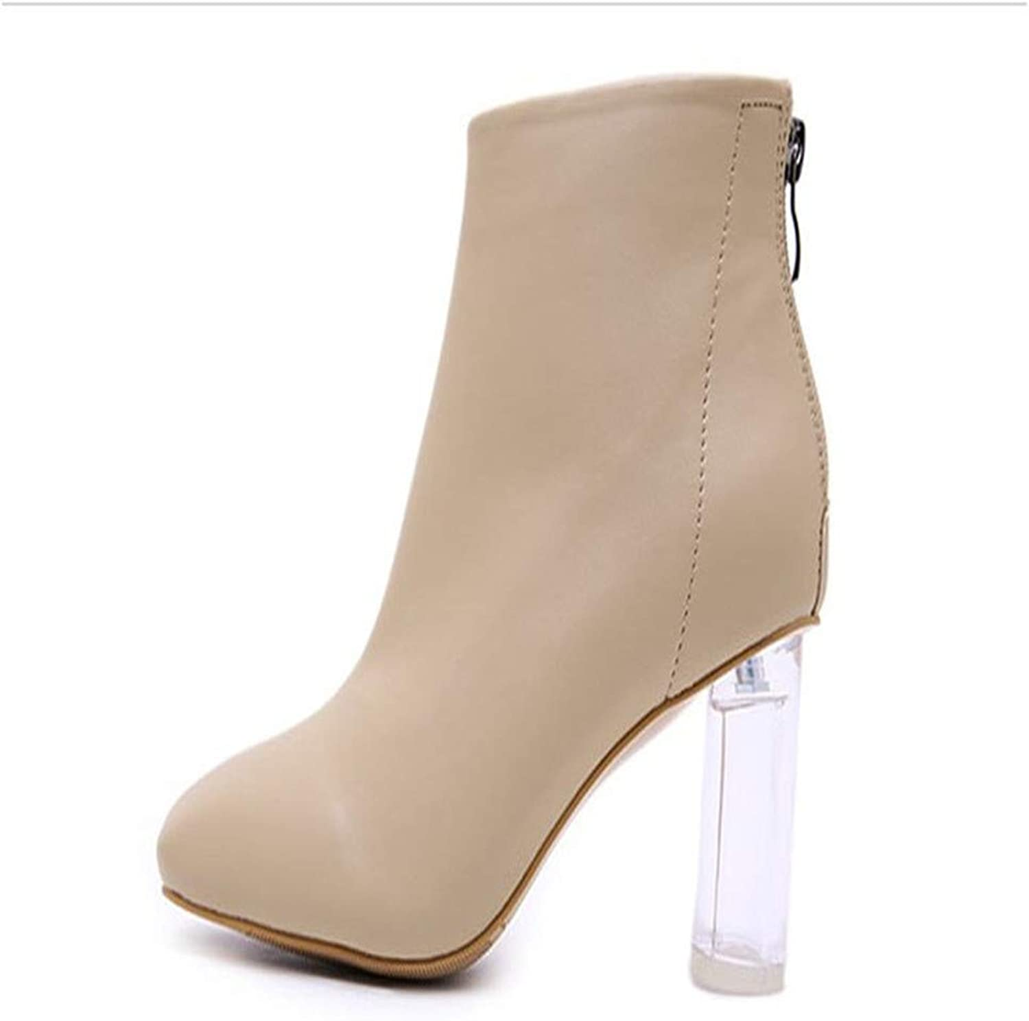 Winter Ladies Crystal Root in The Tube Women's Boots Temperament Thick with Casual Sexy Large Size PU Leather Warm Textile Lining