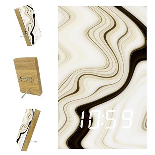 Despertador LED digital para dormitorios cocina oficina personalizado decoración del hogar abstracto beige 6.2x3.8x0.9 pulgadas