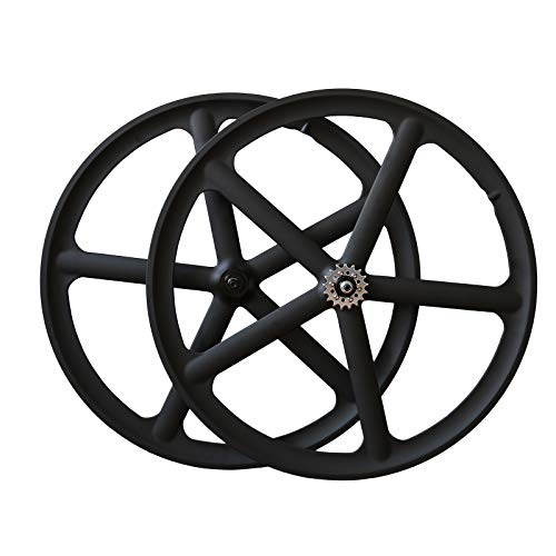 Solomone Cavalli 700c 5 Spoke All-in-one Bicycle Wheel Set Mag Wheelset for Fixie Fixed Gear Road Single Speed