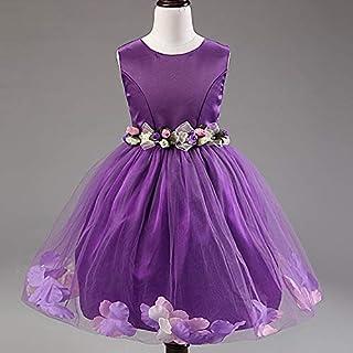 Purple mix Pageant Flower Girls Princess Dress Kids Party Wedding Bridesmaid Tutu Dress 7 to 8 years