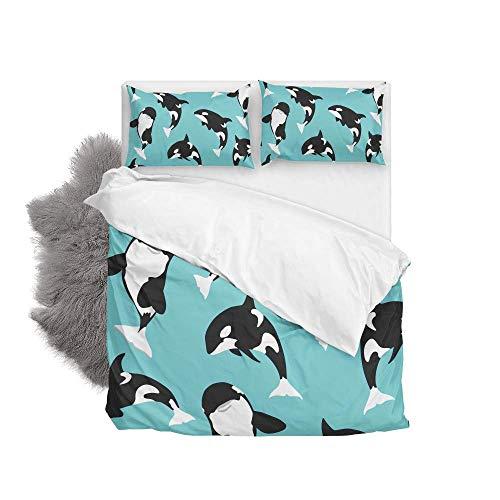 Soft Duvet Cover Set Killer Whale Bedding Cover With 2 Pillowcases Set 3 Pcs 200 X 200 Cm, Double Size