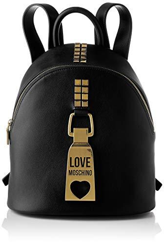 Love Moschino Precolección Ss21   Mochila Pu para mujer, bolso tipo mochila, M Negro Size: M
