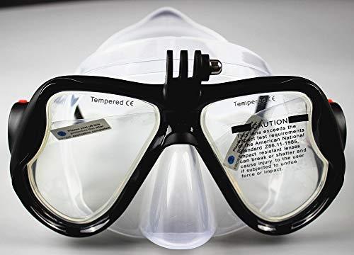 WOWDECOR Tauchmaske für Gopro Kamera Erwachsene Kinder mit Kurzsichtigkeit Kurzsichtig, Schnorchelmaske Taucherbrille Dioptrin Dioptrien Korrektur - Schwarz (0)