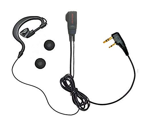 Kenwood Compatible Earbud Microphone for Demitos, Ear-hook Type, 2-pin UBZ-LP20 UBZ-LM20 UBZ-LK20 UBZ-EA20R UBZ-LP27 UTB-10 Specific Low Power Transceivers EMC-3 EMC-11 EMC-12 EMC-5F Compatible VOX Hands-Free Earpad Spare GEAR FGM