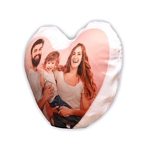 Isonio Kissen mit eigenem Foto und Text Bedruckt - Herz-Fotokissen selbst gestalten (Herz Oberfläche Satiniert)