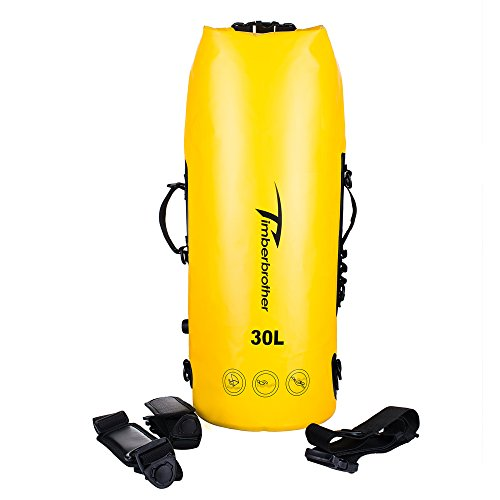 Timberbrother Sacca Impermeabile / zaino con tracolla per Kayak, Canoa, Nautica, Campeggio e Attività all'Aperto (giallo, 30L)