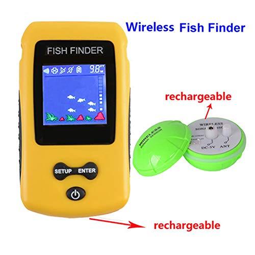 ZSHXF Buscadores de Pescado Alarma Sensor de Sonar portátil de Pesca con Cable LCD Profundidad buscador ecosonda inalámbrico portátil,buscador de Peces bajo el Agua
