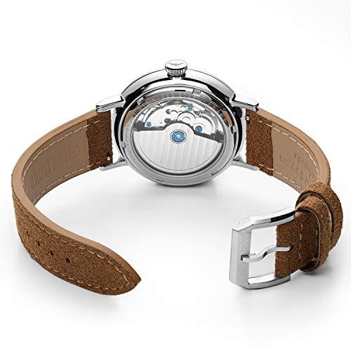 FEICEメンズ腕時計Bauhaus自動機械式腕時計ドーム型ミラー付き防水ビッグフェイスドレスウォッチメンズ直径42mm-FM202ブラウン