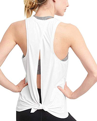 Mippo Workout Tops for Women Cute Open Back Yoga Tops Loose Fit Athletic Racerback Tank Tops High Neck Tank Top Gym Tops Workout Clothes Fashion for Women 2020 White M