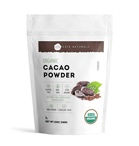 Organic Cacao Powder for Hot Cocoa and Baking by Kate Naturals. Delicious and Healthy Choice for Smoothies, Coffee, Protein Shakes, Hot Chocolate. Large Resealable Bag. 12oz