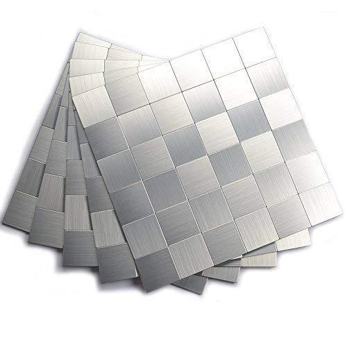 Yipscazo Peel and Stick Mosaic Tile, Kitchen Tile for Backsplash(12x12 Inch, Brushed Aluminum)
