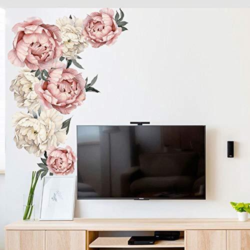 Pioenrose bloemen muursticker koningin kunst vintage decoratie meisje kamer wanddecoratie woonkamer behang