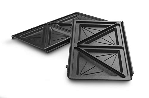 De'Longhi Sandwichplatten Set DLSK154 – Küchenzubehör für De'Longhi Multigrill SW12, Grilleinsatz mit diagonaler Vertiefung, spülmaschinengeeigneter Aluminiumdruckguss, Schwarz
