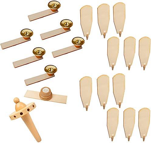Brubaker Ersatzteile Komplett-Set für Weihnachtspyramiden 45 cm / 60 cm Holz naturfarben mit 12 Flügeln, 6 Kerzenhaltern, 1 Pyramidenkopf und 1 Nadellager
