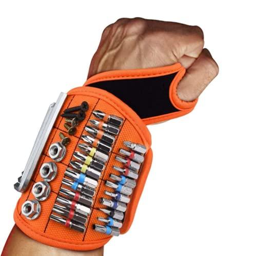 Cinturón de herramientas de pulsera magnética, imanes fuertes que sujetan tornillos, clavos, brocas, regalos resistentes para el día del padre, esposo, novio, manitas, electricista (Orange)