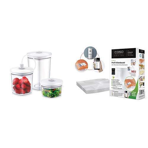 CASO Behälter-Set für Vakuumierer, 3 Vakuumbehälter für druckempfindliche und flüssige Lebensmittel, passend für alle CASO Vakuumierer & CASO Profi- Folienbeutel 20x30cm / 50 Beutel mit Etiketten
