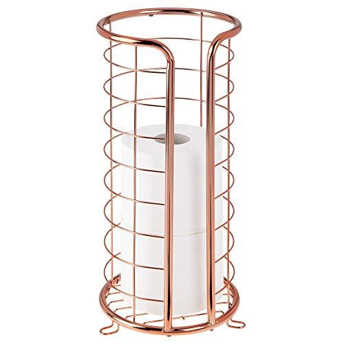 mDesign Decorative Metal Free Standing Toilet Paper Holder...