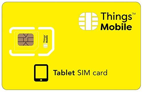 SIM Card DATI PREPAGATA per TABLET - Things Mobile - con copertura globale e rete multi-operatore GSM 2G 3G 4G LTE, senza costi fissi, senza scadenza e tariffe competitive con 10€ di credito incluso