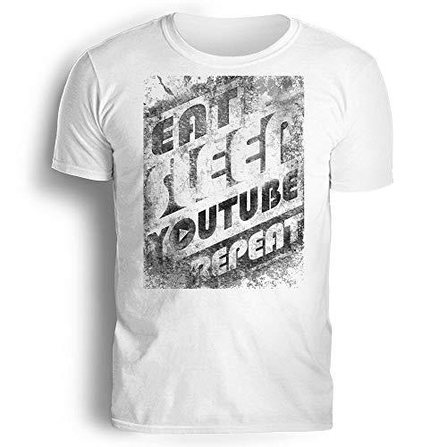 Eat, Sleep. Youtube. Repeat Unisex T Shirt Funny, Grunge Design Hipster Youtuber