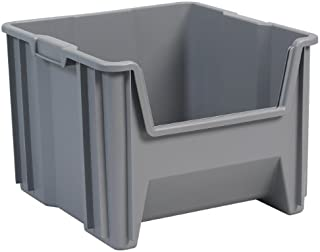 Akro-Mils 13018 Stack-N-Store Heavy Duty Stackable Open Front Plastic Storage Container Bin, (17-1/2-Inch x 16-1/2-Inch x 12-1/2-Inch), Gray, (2-Pack)