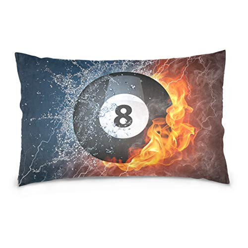 TSWEETHOME Bed Pillow Case/Shams Set of 2, Soft and Breathable, 8 Ball Pool Best Home Decor Pillowcases Pure Cotton Cushion Cover for Sofa Couch Porch with Hidden Zipper