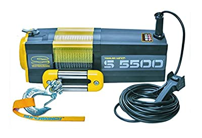 Superwinch 1455200 S5500 12V 5500 lb Winch with Steel Rope (Stainless Steel Roller Hawse, 30' Remote)