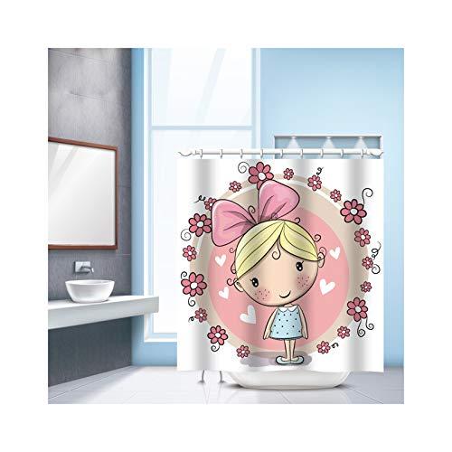 ANAZOZ Douchegordijn met 12 haken, 3D-waterblokjes voor meisjes, uil, milieuvriendelijk wasbaar, anti-schimmel, waterdicht badgordijn voor badkamer en badkuip