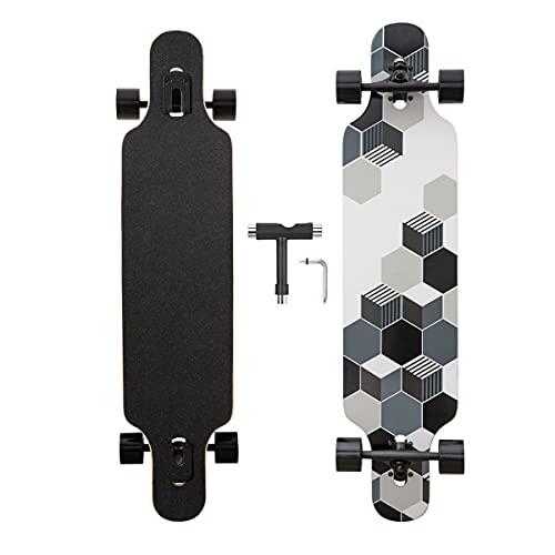 Longboard, 8-lagigem Ahornholz Cruiser komplettes Skateboard,Longboards für mädchen Erwachsene jung anfänger mit T-Tool und PU-Räder (Schwarz und weiß)