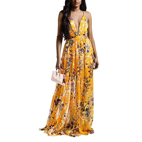 FANDEE Summer Dresses for Women Maxi Sexy Strap Floral Chiffon V Neck Orange X-Large