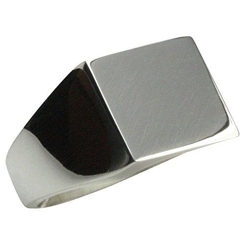 Mittelgroßer Siegelring mit Gravurplatte aus 925er Silber, Größe:Größe 64 (20.4 mm)