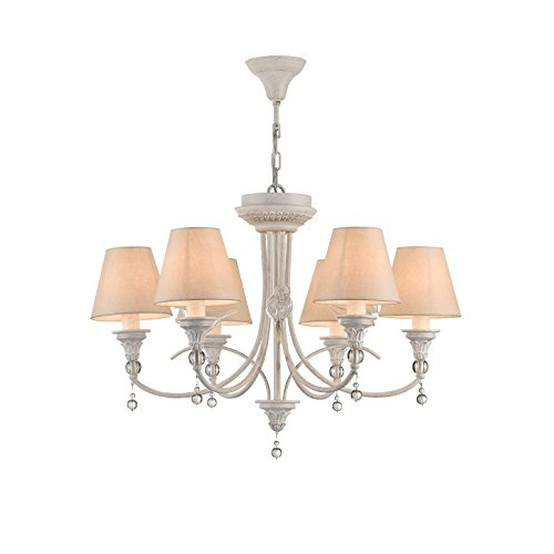 Eleganter schlichter Kronleuchter, weißes Metall mit Patina, cremefarbene Schirme, Glassdekor, kurzbarer Pendel, 8-flammig exkl. E14 40W 220-240V