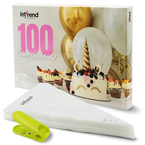 int!rend 100 manga pastelera desechables antirreflejos, mangas pastelera de polietileno (0,04 mm) | para sus creaciones decorativas de galletas de magdalenas de pastelería