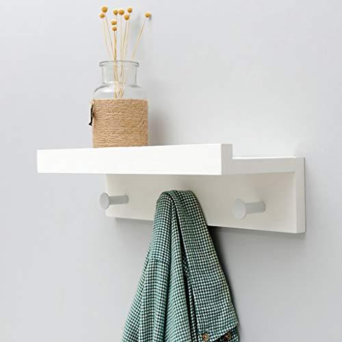 Wall Shelf Floating Shelf wandrek, wandmontage met legplank, eenvoudige opslag voor staande staande kapstok, wandrek met 2 3 4 5 haken, ingang, hal, slaapkamer, badkamer, woonkamer, We J