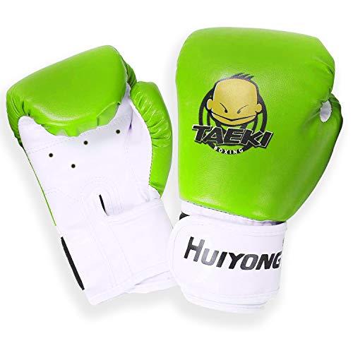 longeek Kinder-Boxhandschuhe, 113 g, Cartoon-Sparring-Training für Jugendliche und Kleinkinder, Boxhandschuhe, Kickboxen, Muay Thai, MMA, Kinder im Alter von 3 bis 15 Jahren, PU-Leder (grün)