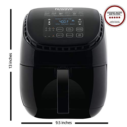 NUWAVE BRIO 3-Quart Digital Air Fryer with one-touch digital controls, 6 easy presets, precise temperature control, recipe book, wattage control, and advanced functions like PREHEAT, REHEAT and more