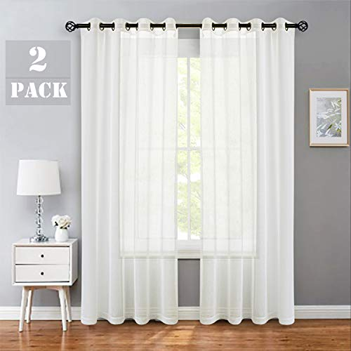Linen Sheer Window Curtain Panel Pairs 84 Inches Long for Bedroom with Grommets/Eyelets Rustic Window Treament Drape Set Living Room Farmhouse- 52x84 Inches, 2 Panels, Off White