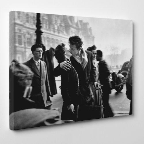 ConKrea Quadro su Tela Canvas - INTELAIATO - Arte Il Bacio Davanti all'hotel De Ville - Robert Doisneau - Storia della Fotografia - 30x40cm - Spessore 2cm - (cod.118)