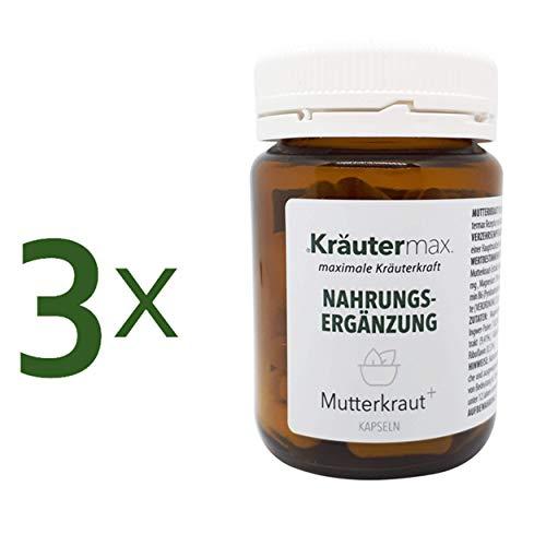 Kräutermax Mutterkraut Kapseln Hochdosiert 3 x 60 Stk. Extrakt mit Magnesium