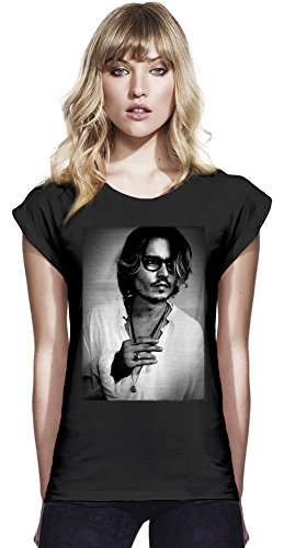 Johnny Depp Vintage Photo Womens Continental Rolled Sleeve T-Shirt Medium