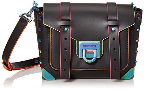 "100% leather; Neon hardware 8.75""W X 5.5""H X 3.25""D; Adjustable strap: 19""-21"" Exterior details: 3 back card slots, front slip pocket; Lining: 100% polyester Flip-lock fastening; Dust bag included Style Number: 30T9TNCM1L; Imported"